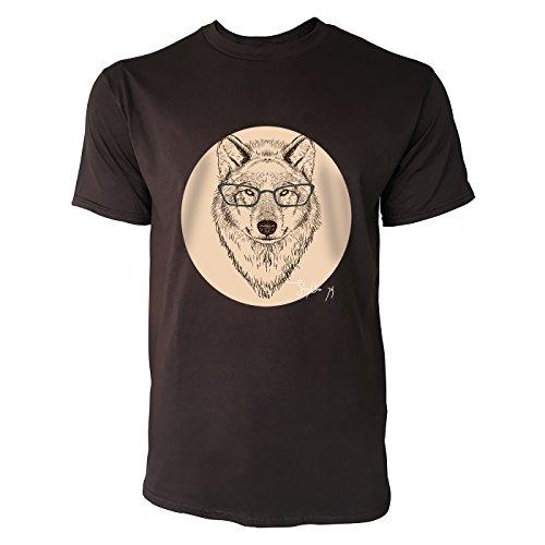 SINUS ART ® Wolfskopf mit Brille Herren T-Shirts in Schokolade braun Fun Shirt mit tollen Aufdruck