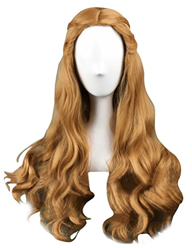 COSKING Queen Cersei Cosplay Wigs, Women Halloween Long Curly Brown Costume Hairpiece with Braids (One Size) ()