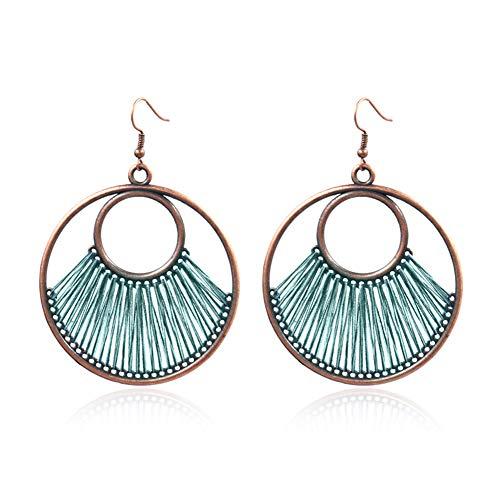 Earrings Gloa Bohemia Circular Line Fan Ear Hooks Statement Women Earrings Party Jewelry Gift - Turquoise Green