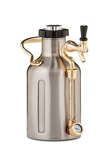 (GrowlerWerks uKeg Pressurized Growler, 64 oz, Stainless Steel)