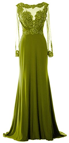 MACloth Women Long Sleeve Beaded Lace Mother of Brides Dress Formal Evening Gown Verde Oliva