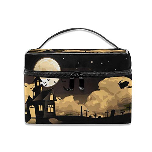 Makeup Bag House_witch_flying_halloween_sky_moon_castle Cosmetic Portable Storage Bag With