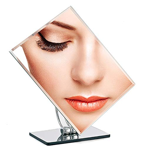 (Desktop Makeup Mirror Large Rectangular Chrome Plated Square Single Side HD Stainless Steel Mirror Makeup Mirror Home Dressing Mirror Counter Mirror)