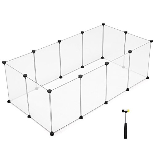 SONGMICS Pet Playpen, Upgrade Customizable Animal Fence Includes Cable Ties, Plastic Pen Fence for Small Animals,Bunny, Rabbit, Puppy & Guinea Pigs, Includes Rubber Mallet for Indoor Use ULPC01W For Sale