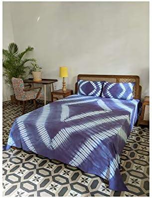 Okhai 'Bleu' Pure Cotton Tie-Dye Bed Cover Blue