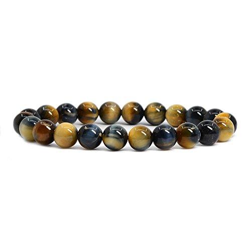 Tiger Bracelet Set (Natural Golden Blue Tiger's Eye Gemstone 8mm Round Beads Stretch Bracelet 7