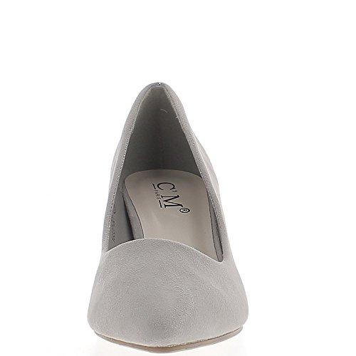 Escarpins pointus gris cair à petits talons de 6 cm look daim