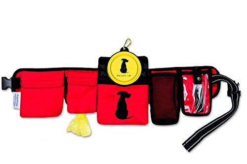 FreshStart DogiPack Hands Free and Organizational Dog Walking Belt (Red)