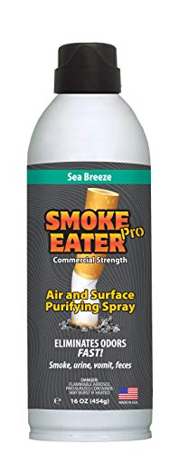 Smoke Eater - Breaks Down Smoke Odor at The Molecular Level - Eliminates Cigarette, Cigar or Pot Smoke On Clothes, in Cars, Boats, Homes, and Office - Travel Spray Bottle (Sea Breeze (16 oz))