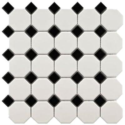 Snow White 12X12 White & Black Octagon Mosaic -11 pcs/carton (11 sq ft)