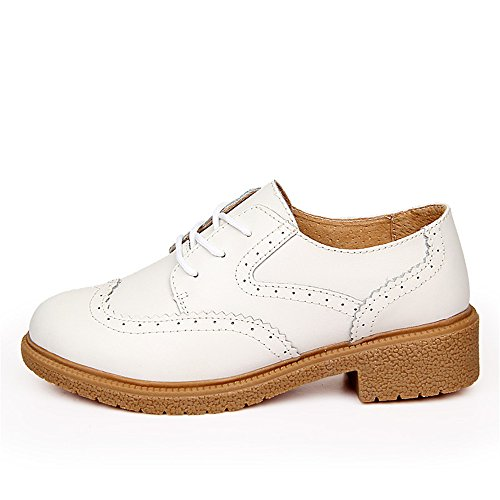 Oxfords blanco Zapatos Ronda Mujer SHELAIDON Punta Cuero Brogue cordones de ACq6TX