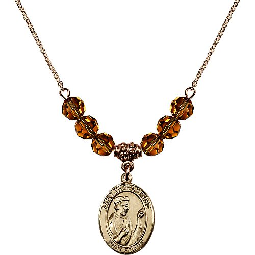 18-Inch Hamilton Gold Plated Necklace with 6mm Yellow November Birth Month Stone Beads and Saint Thomas More ()
