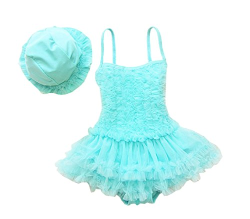 (Taiycyxgan Girls Princess Lace Layer Swimsuit TuTu Dress One-Pieces Swimwear Tankini,Blue,Medium / 2-3 Years)
