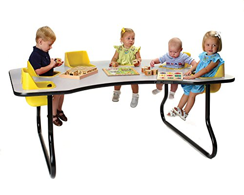 TODDLER TABLE 6 SEAT TABLE, 27'' TALL, (Gray Top, Yellow Seats)