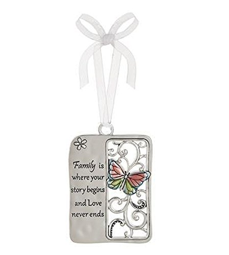 (Family Is Where Your Story Begins and Love Never Ends Metal Plate Car Charm - By)