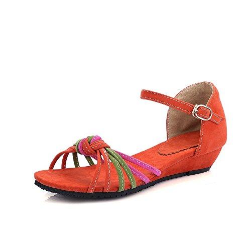 Hebilla Surtidos Colores Tacón AllhqFashion Abierta Mujeres Mini Cuña Sandalia Naranja Puntera de qpZBft1w
