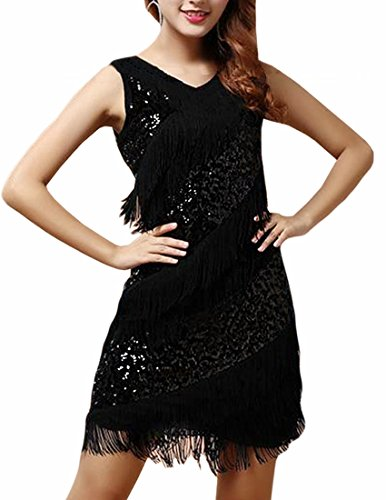 MFrannie Women's Fashion Sexy Latin Dance Sequins Sparkly Tassel Dress Costume (Black Sparkly Dance Costumes)