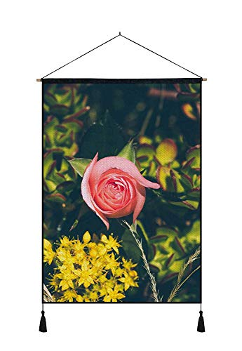 1 Dz Yellow Roses - DZ.HAIKA Yellow Flowers One Pink Rose - Natural Scenery Art Print Cotton Linen Home Wall Decor Hanging Posters(18x26inch)