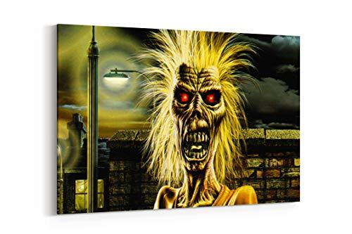 "Iron Maiden Heavy Metal Dark Album Cover Eddie F - Canvas Wall Art Gallery Wrapped 40""x26"" - .75"" Depth"