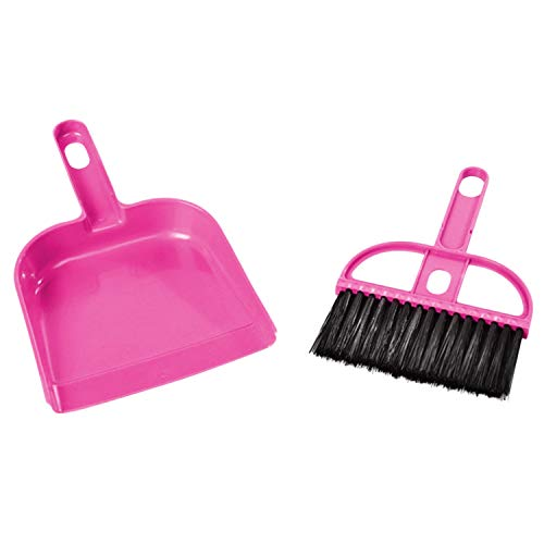Ying Mini Dustpan and Brush Set for Small Messes Desk Pet Kid's Mealtime Cleaning Tool Pink