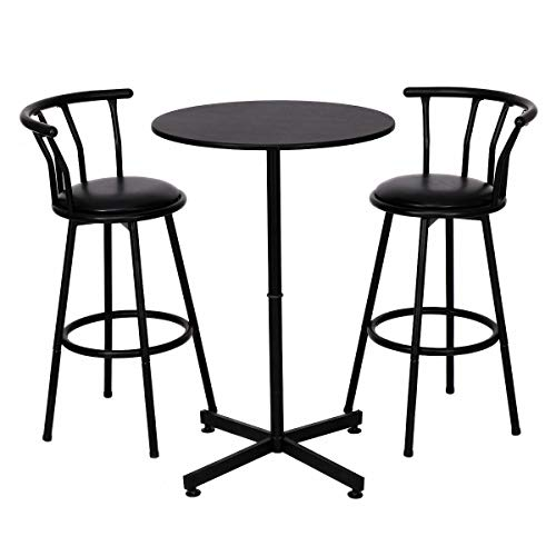 3 Piece 2 Chair Bar Stool Round Table Set with 2 Stools Bistro Pub Kitchen Dining Furniture Black Outdoor Indoor Table Party Garden Pool Beach (Stools Swivel Seat Black Pvc)