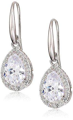 - Sterling Silver Cubic Zirconia Pear Shape Halo Dangle Earrings