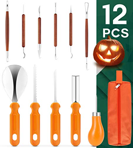 Comfy Mate 12 PCS Pumpkin Carving Kit Tools, Heavy Duty Stainless Steel Set and Double-side Professional Detail Sculpting Tool, Carving Knife for Halloween Decoration