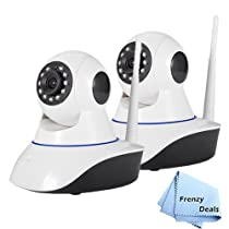2 FrenzyDeals High Definition 1080P wireless IP cameras with night vision, motion sensor and remote pan and tilt + microfiber cloth