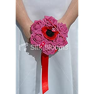 Red Anemone Poppy & Pink Roses Mini Posy Wedding Flowers 52