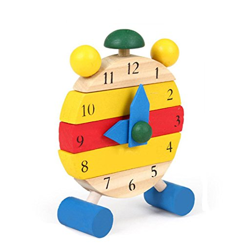 Day Mantle Clock (E-SCENERY Handmade Wooden Shape Sorting Clock - Children's Educational Teaching Toy for Baby Boy And Girl Gift)