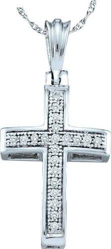 10 k or blanc Diamant 0,07 Dwt Rough Pendentif Or Croix de haute qualité Or 9 Carats JewelryWeb