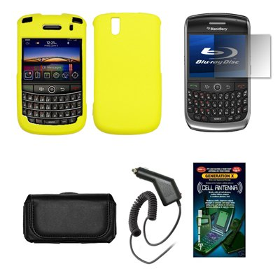 (Blackberry Tour 9630 Premium Black Leather Carrying Pouch+ Red Rubberized Snap-on Hard Case Cover+ Premuim LCD Screen Protetor+Premium Rapid Car Charger+ Antenna Booster Combo For Blackberry Tour)