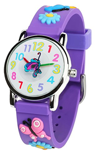 Tonnier 3D Kids Watches Healthy Material Purple Rubber Band Children Watches Butterfly (Children Watch Band)