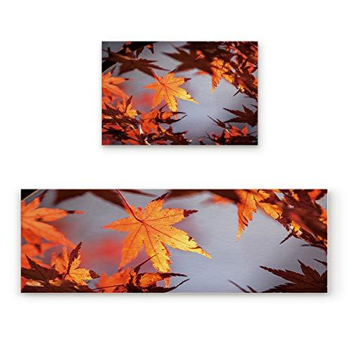 Non-slip Indoor Door Mat Entrance Rug Rectangle Absorbent Moisture Floor Carpet for Beautiful Autumn Maple Leaf Doormat 19.7x31.5In+19.7x63In