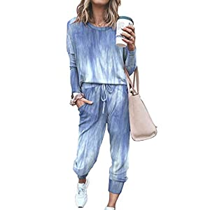 Necosthua Women's Two Piece Outfit Joggers Sets Long Sleeve Tie Dye Pajama Sets Crewneck Pullover Tops Long Pants…