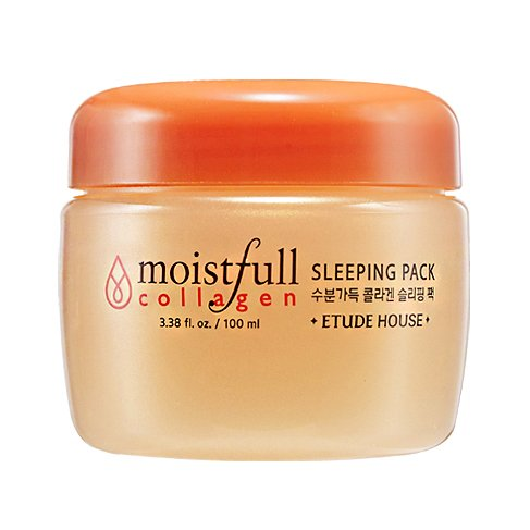 ETUDE HOUSE Moistfull Collagen Sleeping Pack 3.38 fl. oz. (100ml) - Skin Moisturizing & Refreshing with Moist Plump Gel, Super Collagen Water & Bobab Water Makes Skin Plumpy with Long Lasting Moist