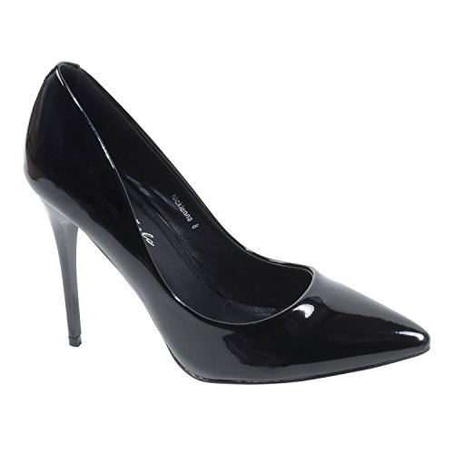 HerStyle Nicklenna Closed Pointed Toe Stiletto High Heels Patent Pumps Black zbWLNva