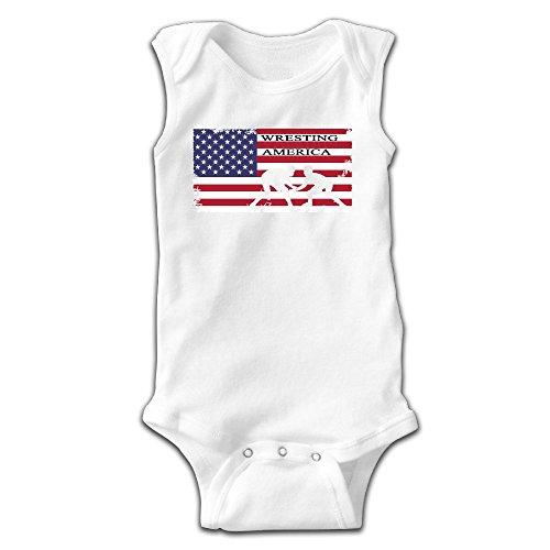 MMSSsJQ6 American Flag Wrestling Infant Baby Boys Girls Infant Creeper Sleeveless Romper Bodysuit Onesies Jumpsuit White by MMSSsJQ6