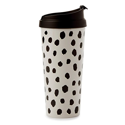 Kate Spade New York Women's Flamingo Dot Thermal Mug, Black, One Size (Thermal Black Spade)