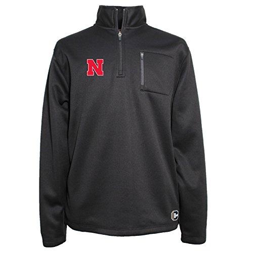 Cornhuskers Men's 1/4 Zip Textured Bonded Jacket, Medium, Black ()
