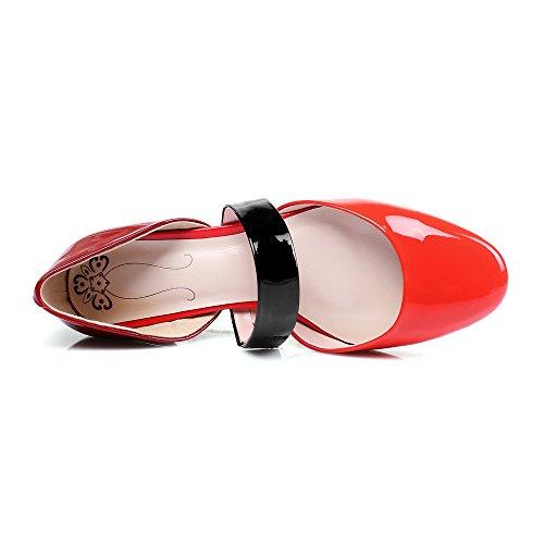 Nine Seven Cuero Moda Puntera Redonda Bailarinas Planos Cómodos para Mujer Rojo