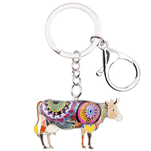 WEVENI Enamel Metal Floral Cow Cattle Keychain Key Chain Ring Farm Animal Jewelry for Women Girls Bag Car Charm Pendant Gifts (Brown)