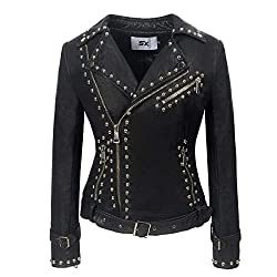 Rivet Studded Asymmetric Pu Black Biker Jacket