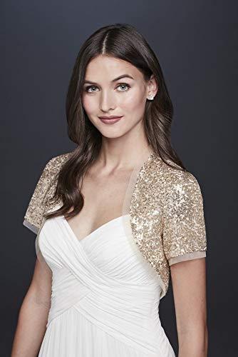 David's Bridal Sequined Short Sleeve Shrug Style OW2123, Gold, M