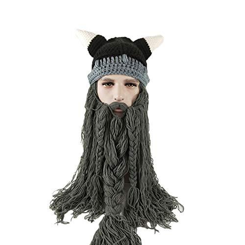 hiixhc - Gorro de Punto de Cruz Vikingo, Divertido, para Invierno, Sombrero con diseño de Bata Falsa, Marino, Medium