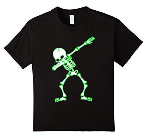 Glow In The Dark Skeleton Costumes Kids (Kids Dabbing Skeleton Shirt Kids, Bones, Glow Effect, Halloween 10 Black)