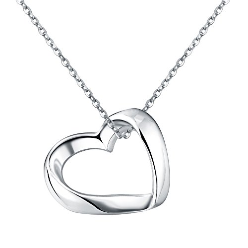 Paialco 925 Sterling Silver Slider Heart Charm Pendant Necklace