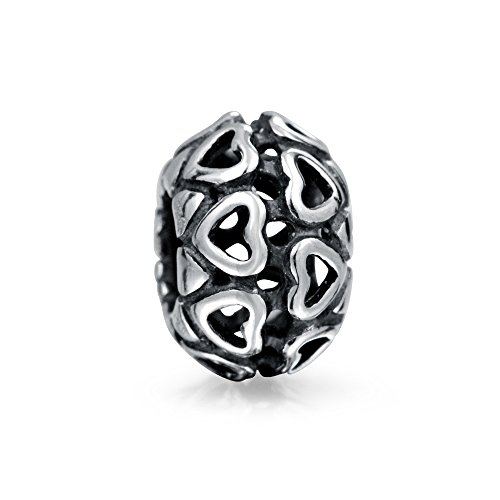 Round Double Row Cut Out Filigree Heart Bead Charm .925 Sterling Silver (Row Cut Out)