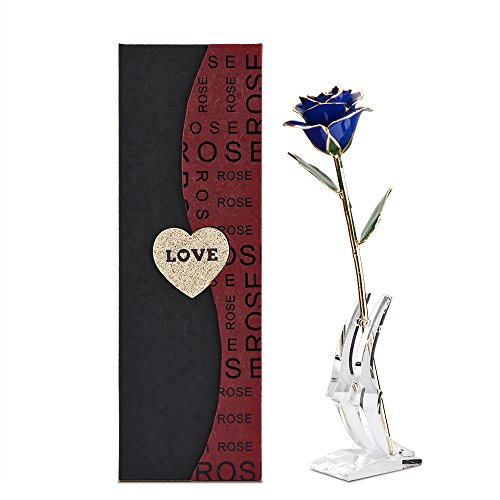 Gold Rose, DDSKY 24K Gold Trimmed Rose Long Stem Flower with Transparent Stand Creative Romantic Gift for Valentine's Day, Mother's Day, Anniversary (Blue)