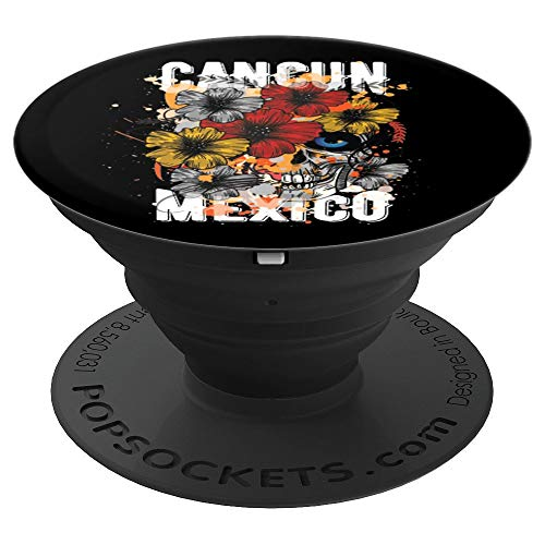 (Flower Skull Cancun Mexico Vacation PopSockets Grip and Stand for Phones and)